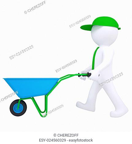 3d white man with a wheelbarrow. Isolated render on a white background