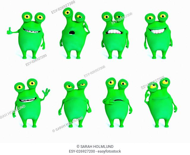 Collection of charming green monsters in different moods and poses, 3D rendering. White background