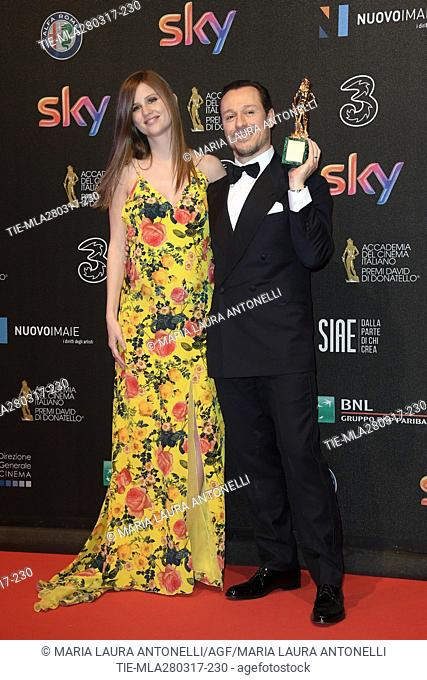 Stefano Accorsi prize Best leading actor with wife Bianca Vitali during the red carpet of David di Donatello Awards, Rome, ITALY-27-03-2017