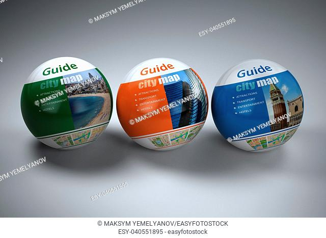 Travel guide concept on white isolated background. 3d