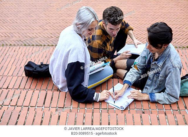 Students on campus, College, School of Business Studies, University, Donostia, San Sebastian, Gipuzkoa, Basque Country, Spain, Europe