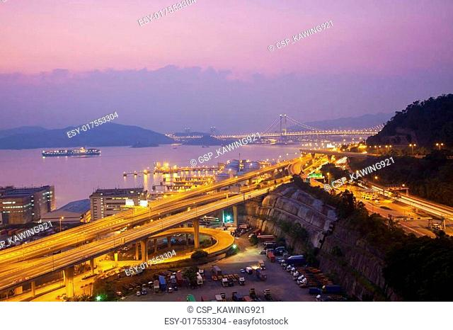 Tsing Ma Bridge and highway scene
