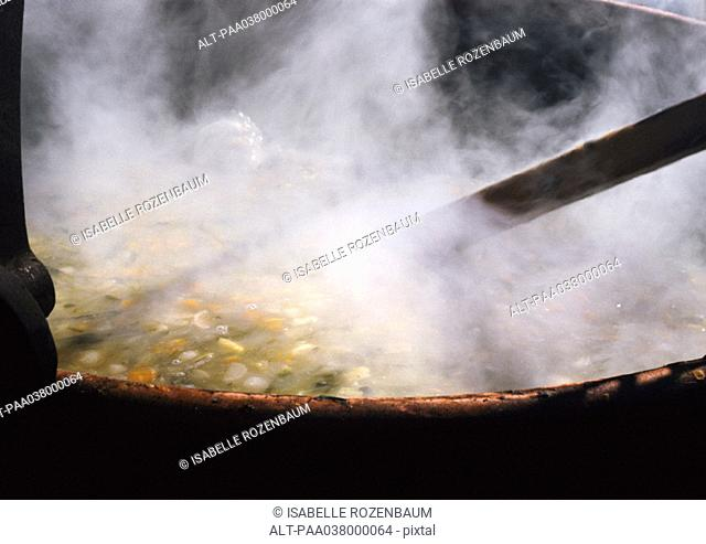 Food steaming in pot, close-up