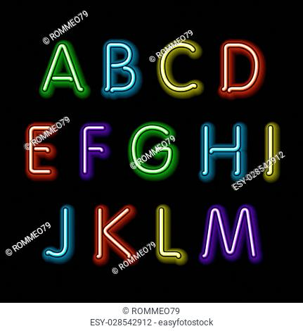 Neon glow alphabet. Vector design party retro 3d art neon font