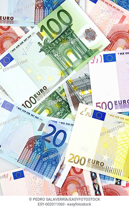 view of group of European banknotes