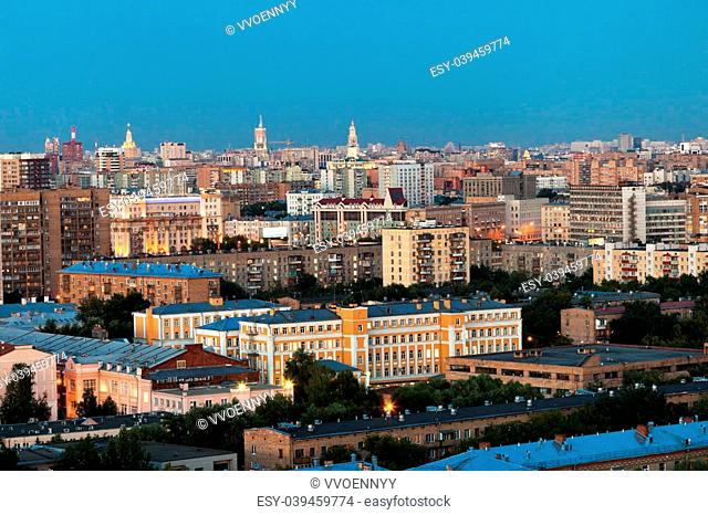 panorama of Moscow in summer evening gloaming