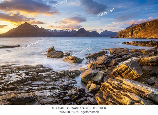 Cuillins Hills across Loch Scavaig seen from the beach of Elgol, Isle of Skye, Inner Hybrides, Highland, Scotland, United Kingdom, Europe