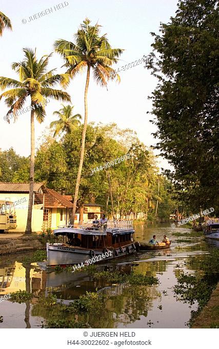 India Kerala backwater canal boat