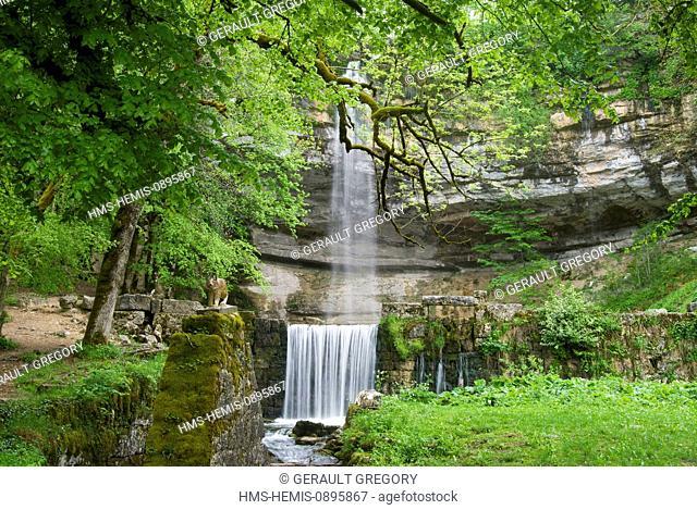 France, Jura, Parc Naturel du Haut-Jura (Haut Jura Nature Park), Bonlieu, site of Cascades du Herisson (Hedgehog's Waterfalls), Saut Girard Waterfall