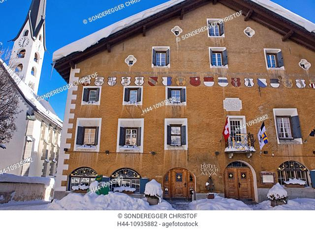 Hotel, Zuoz village, winter, canton, GR, Graubünden, Grisons, Engadin, Engadine, Oberengadin, facade, coat of arms, paints, restaurant, hotel, Switzerland