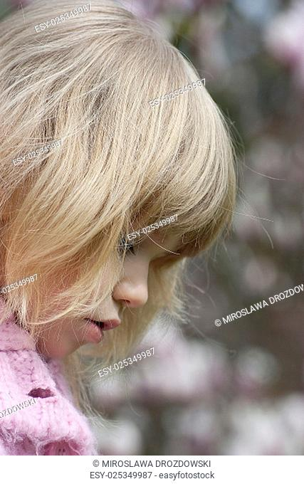 portrait of blond small girl