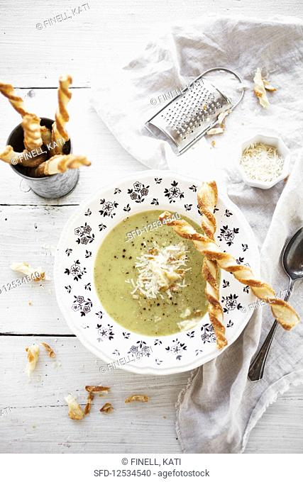 Zucchini soup and parmesan sticks