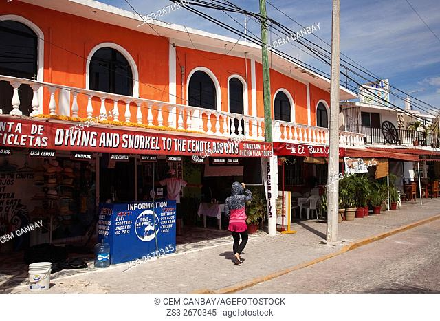Colorful colonial buildings in town center, Tulum, Quintana Roo, Yucatan Province, Mexico, Central America