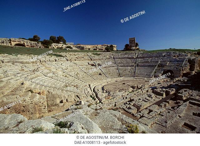 Steps of the Greek theatre, Syracuse (UNESCO World Heritage Site, 2005), Sicily, Italy, Magna Graecia civilization, 5th-3rd century BC
