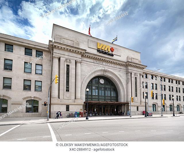 VIA Rail Canada Union Station in Winnipeg downtown. Winnipeg Railway Museum. Main street, Winnipeg, Manitoba, Canada 2017