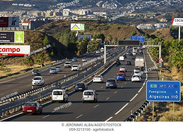 Car traffic, Mediterranean highway. Fuengirola Malaga province, Costal del Sol. Andalusia, Southern Spain. Europe