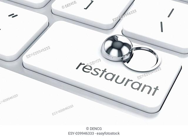 3d render of cloche icon on the keyboard. Restaurant concept