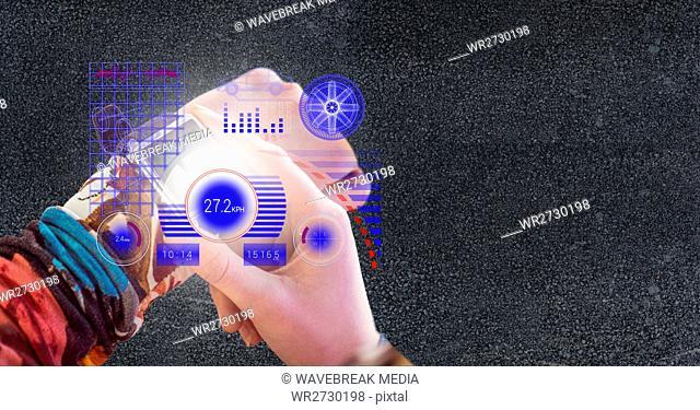 Hands using smart watch