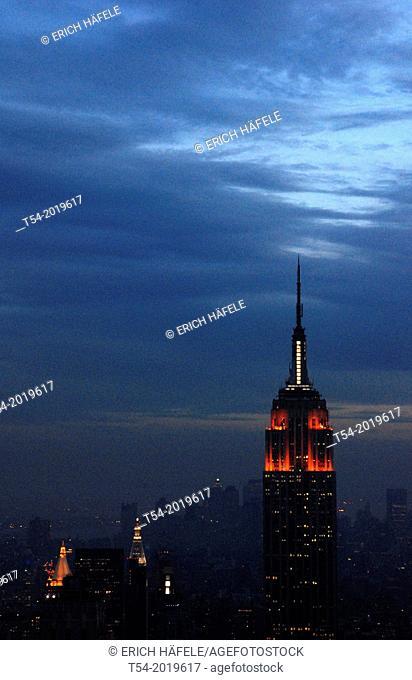 View over Manhattan from Rockefeller Center at Dusk