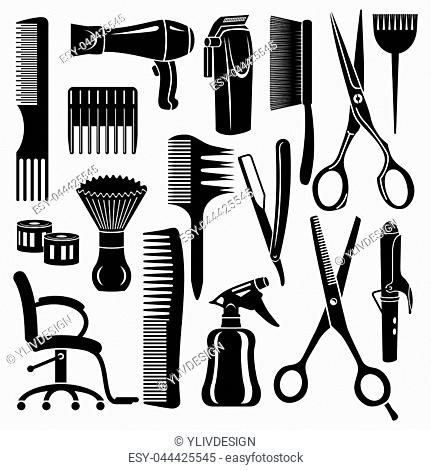 Hairdresser tools icons set. Simple illustration of 16 hairdresser tools icons for web