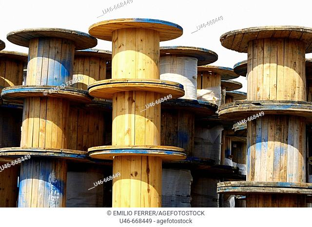 Copper cable wooden rolls  LLeida  Catalonia  Spain
