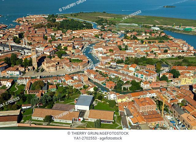 Italy, Venice lagoon, Murano island (aerial view)