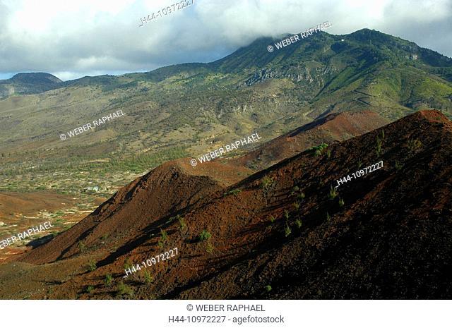 Ascension, Ascension Island, volcano, mountain, sisters peak, lava, lava field, view, green mountains, rain forest, gipfel