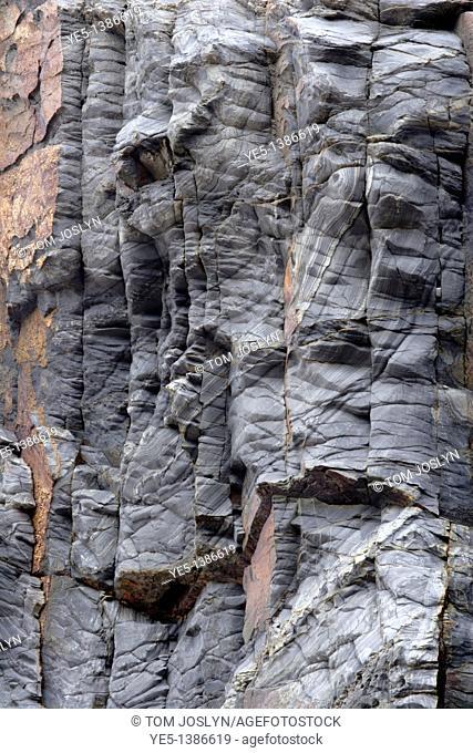 Rock patterns along cliff face, Cornwall, England, UK
