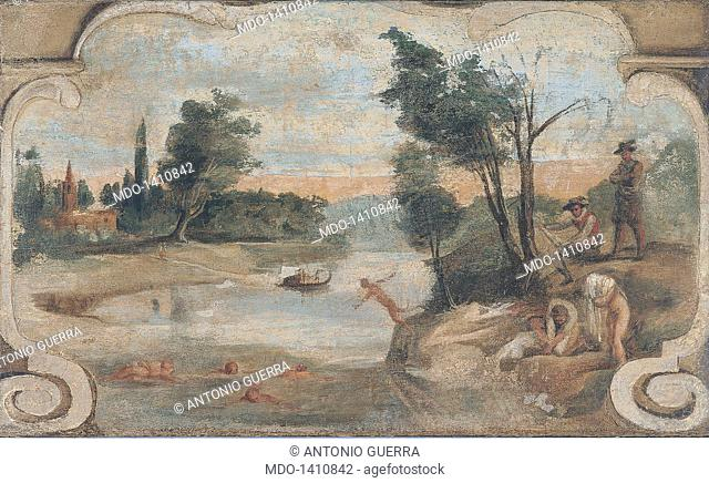 Scene of Country Life - River Landscape with Bathers (Scena di vita campestre - Paesaggio fluviale con bagnanti), by Giovan Francesco Barbieri known as il...
