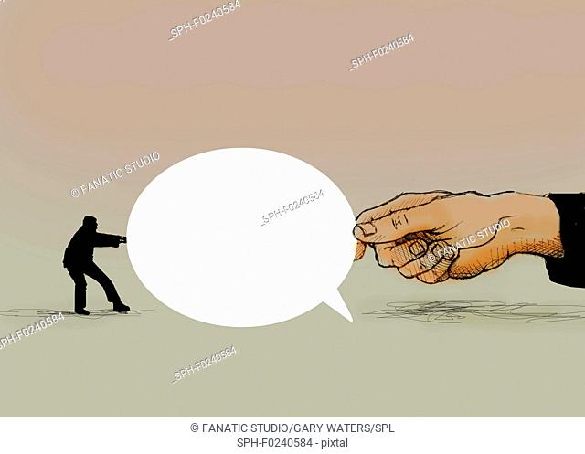 Conceptual illustration of a small man and a large hand engaged in a tug of war with a speech bubble depicting disputes and arguments