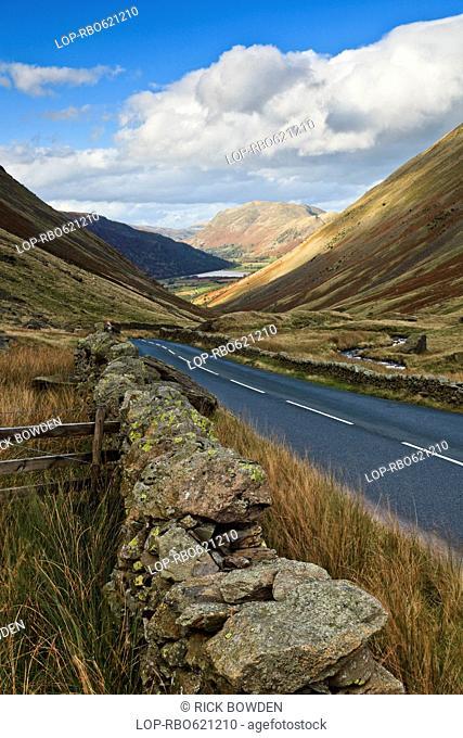 The Kirkstone pass plummets downhill towards Brothers Water