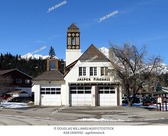 Jasper firehall in winter in Jasper National Park, Alberta, Canada