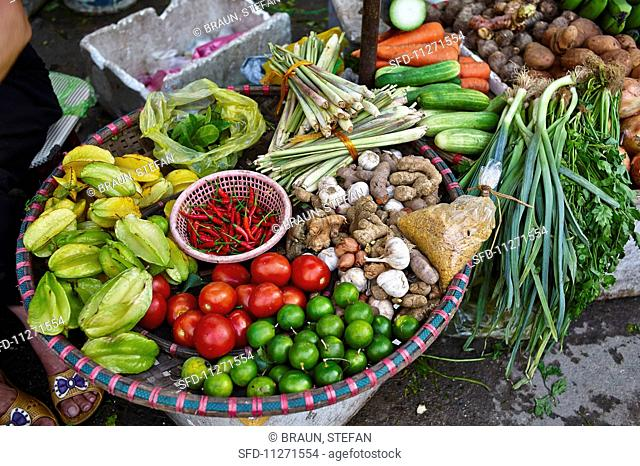 Fruit and vegetables at a market in Haiphong, Vietnam