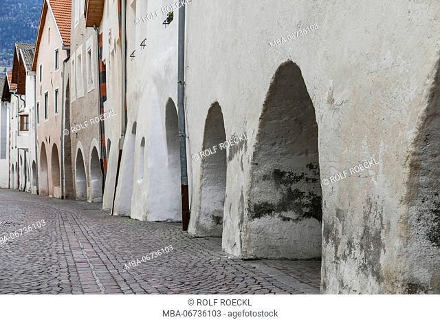 medieval arcades in Glurns, Vinschgau, South Tirol