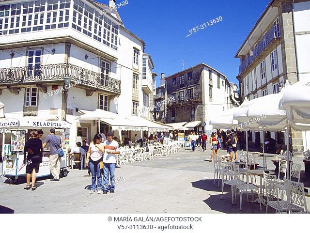 Street and terraces. Santiago de Compostela, La Coruña province, Galicia, Spain