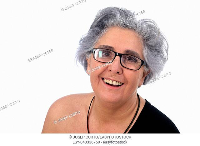 an older woman with a sexy posed on white background