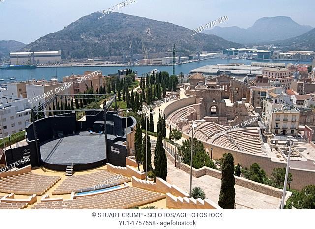 The Roman Theatre of Carthago Nova and Cathedral ruins of Cartagena alongside Cartagena's modern Amphitheatre in the region of Murcia, Spain