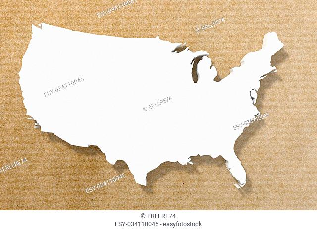 3d rendering of a United States map on an old paper background