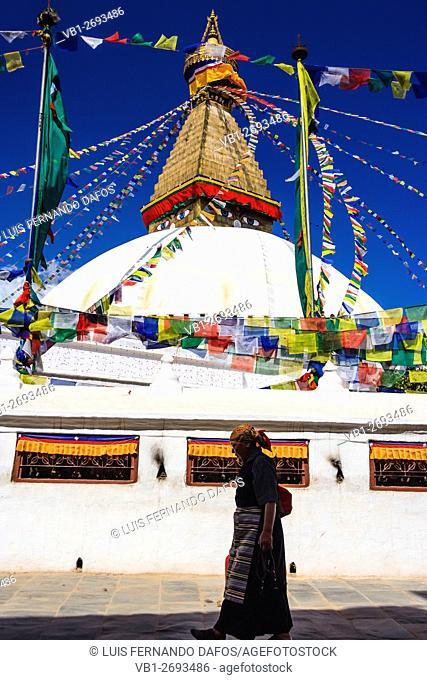 Tibetan pilgrim at Boudhanath stupa Kathmandu Valley, Nepal