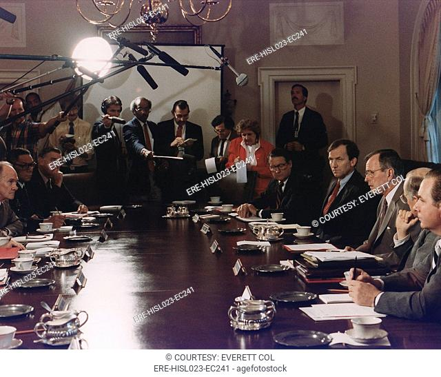 President Bush participates in a full National Security Council meeting regarding Iraq's invasion of Kuwait Aug 2-4 1990