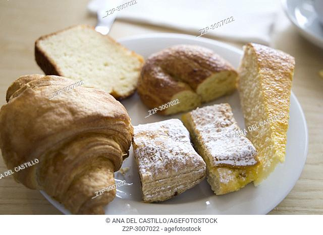 Plate with breakfast pastries in Azores Portugal
