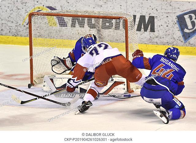 (L-R) Julius Hudacek of Slovakia, Filip Chytil of Czech Republic, Mislav Rosandic of Slovakia in action during the Euro Hockey Challenge match Slovakia vs Czech...