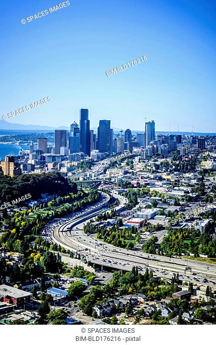 Aerial view of highway and Seattle cityscape, Washington, United States