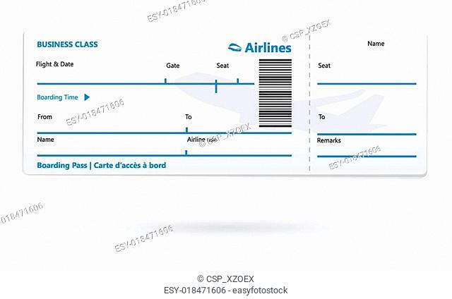 Airline boarding pass blank
