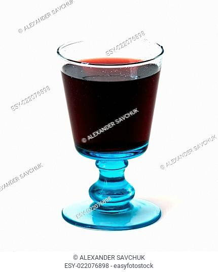 blue glass of red wine