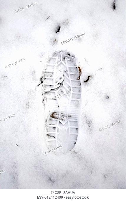 Grungy footstep at the first snow