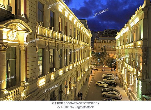 Azerbaijan; Baku, street scene, night, illuminated,