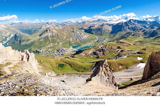 France, Savoie, Vanoise Massif, Seen on the lake and Tignes