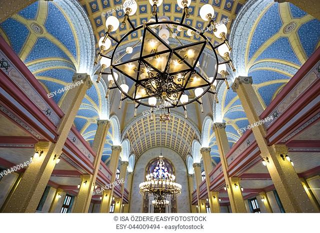 Interior view of Grand Synagogue of Edirne or Edirne Synagogue that is a historic Sephardi synagogue in Edirne,Turkey. 17 October 2015