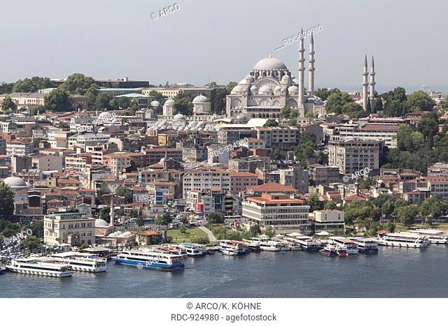 Suleymaniye Mosque with Golden Horn, Istanbul, Turkey / view from Galata Tower